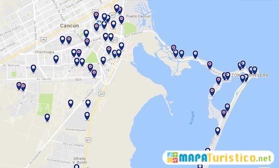 mapa hoteles cancun