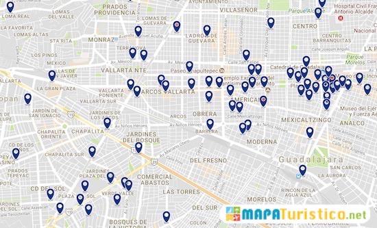 mapa hoteles guadalajara mexico