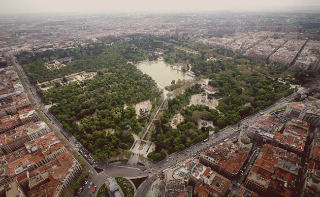 Vista aerea del retiro Madrid