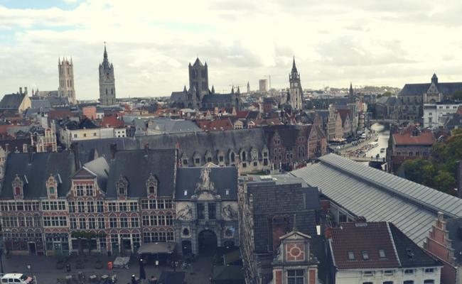 Ciudad de Gante desde el aire
